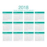 Vector italiano 2018 del calendario Fotografía de archivo libre de regalías