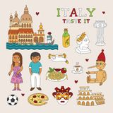 Vector Italy Doodle Art for Travel and Tourism Stock Image