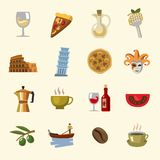 Vector italy icons set Stock Photos