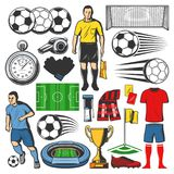 Vector items of football or soccer sport. Soccer sport play items. Vector isolated icons of football ball, soccer player and goalkeeper, referee stopwatch and Royalty Free Stock Photos