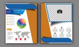 Vector Jaarverslag, de Lay-out van de Boekdekking, Pamfletbrochure, Vliegermalplaatje, A4 Grootte Stock Fotografie