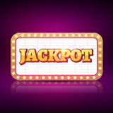 Vector Jackpot banner symbol. Casino game neon sign of jackpot concept Royalty Free Stock Image