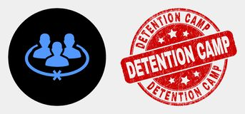 Vector Jailed Persons Icon and Distress Detention Camp Stamp. Rounded jailed persons icon and Detention Camp stamp. Red rounded scratched seal stamp with stock illustration