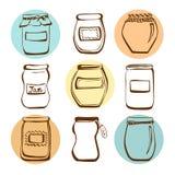 Vector jam jars Stock Images