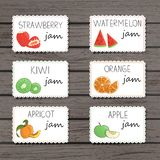 Vector jam labels in cartoon style stock illustration