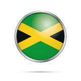 Vector Jamaican flag button. Jamaica flag in glass button style. Stock Images