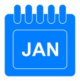 Vector january on monthly calendar blue icon. Simple vector illustration of january on monthly calendar blue icon on white background vector illustration
