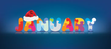 Vector JANUARY written with alphabet puzzle with christmas hat Stock Images