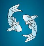 Vector japan fish. With blue background vector illustration