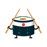 Vector japan ninja sushi with chinese sticks flat design cartoon character illustration. Sushi roll Isolated on white Stock Photos