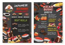 Vector Japanese Asian sushi food restaurant menu. Sushi bar or Japanese Asian cuisine food bar menu design template. Vector sashimi and sushi rolls of salmon Stock Photography