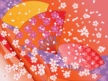 Vector japanese fans, ribbons and flowers Royalty Free Stock Photography