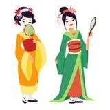 Vector japanese geisha girl Royalty Free Stock Photos