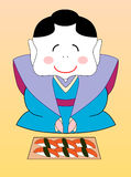 Vector japanese geisha with a set of sushi Royalty Free Stock Photos