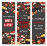 Vector Japanese sushi Asian cuisine banners. Japanese Sushi bar or Asian restaurant banners design for menu. Vector chopsticks for sushi, sashimi rolls of salmon Royalty Free Stock Image