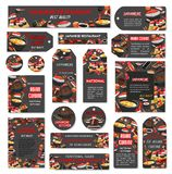 Vector Japanese sushi food bar restaurant banners. Sushi bar or Japanese Asian cuisine food bar banners, posters and tags. Vector set of sashimi and sushi rolls Stock Photos