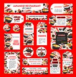Vector Japanese sushi restaurant banners posters. Sushi restaurant or Japanese cuisine bar banners, posters or tags template. Vector fish sushi rolls, rice and Stock Images