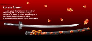 Vector Japanese sword. Japanese sword on red background royalty free illustration