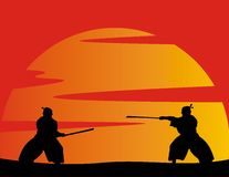 Vector japanese warriors Royalty Free Stock Photo