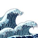 Vector Japanese Waves Illustration, Traditional Asian Art, Painting, Hand Drawn Sea. royalty free illustration