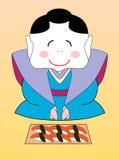 Vector Japanse geisha met een reeks sushi Royalty-vrije Stock Foto's