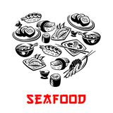Vector Japanse het hartbanners van zeevruchtensushi royalty-vrije illustratie