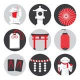 Vector Japanse iconische symbolen en heiligdomvoorwerpen Stock Afbeelding