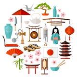 Vector Japanse pictogrammen Stock Fotografie