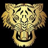 Vector japonés de oro del diseño del tatuaje de la cabeza del tigre Imágenes de archivo libres de regalías