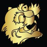 Vector japonés de oro del diseño del tatuaje de la cabeza del tigre Fotos de archivo libres de regalías