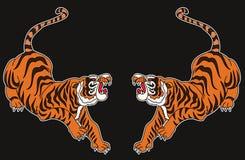 Vector japonés del diseño del tatuaje del tigre fotos de archivo