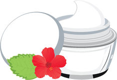 Vector jar with cream, hibiscus and  leaf Royalty Free Stock Photo