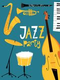 Vector jazz party poster. With jazz musical instruments. Vintage style card Royalty Free Stock Image