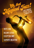 Vector Jazz Poster. Silhouette of Saxophone Player agai Stock Image