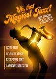 Vector Jazz Poster Silueta del agai del jugador de saxofón Imagen de archivo