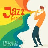 Vector jazz poster with trumpet player and festival text. Vector jazz festival poster with musicion playing trumpet stock illustration