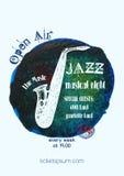 Vector Jazz-, Rock- oder Blaumusikplakatschablone vektor abbildung
