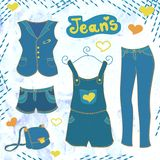 Vector  jeans  clothes  set Stock Photo