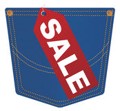 Vector Jeans Pocket With Sale Tag. Vector Red Sale Sign on Pocket of Blue Jeans stock illustration