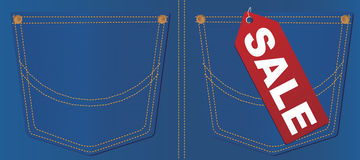 Vector Jeans Pocket With Sale Tag Stock Image