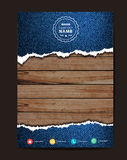 Vector jeans texture on wood background. Jeans texture on wood background, Business brochure flyer design layout template in A4 size, Vector illustration modern Royalty Free Stock Image