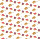 Vector Jelly and peanut butter toasts seamless pattern vector illustration