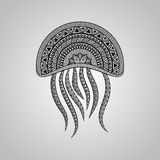Vector Jellyfish. Tattoo style, black on gradient background Royalty Free Stock Photography