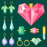 Vector jewelry items gold elegance gemstones precious accessories fashion illustration Stock Image