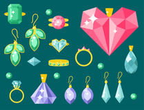 Vector jewelry items gold elegance gemstones precious accessories fashion illustration Stock Photos