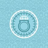 Vector jewelry sign and emblem in outline style vector illustration