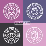 Vector jewelry signs and emblems in outline style Stock Image