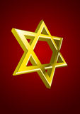 Vector Jewish star. Vector golden Jewish star on red background stock illustration