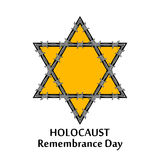 Vector Jewish star and barbed wire. Holocaust remembrance day il Stock Image