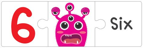 Jigsaw eye monster - six. This vector is about Jigsaw eye monster. use study for kid stock illustration